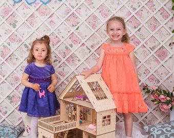 """Modern dollhouse Dollhouse """"Anastasia"""" with terrace (with balcony) Dollhouse 3 floors 1:12 scale"""