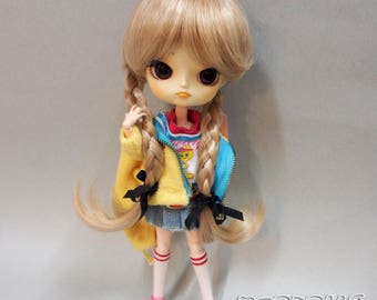 """Wig with tails 8-9"""" for Dal, and similar size doll. Wig for BJD. Color Blond."""