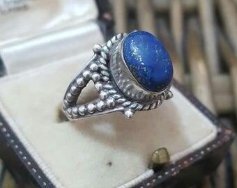 Vintage 925 sterling silver ring, ethnic design, lapis lazuli, size n1/2