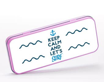 Keep Calm and Let's Surf Surfing Blue Waves Inspirational Ocean Sea, Stationery Metal Tin, Personalised Stationery, Cute Stationery, ST075
