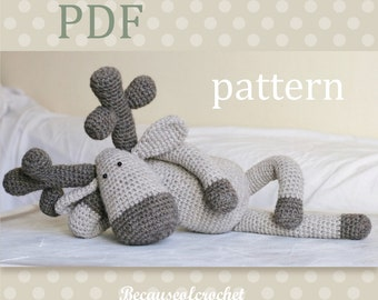 """Sale! PDF Crochet PATTERN for beginners - Reindeer amigurumi toy. Finished size approx. 16,5"""" = 42 cm. Written in US terms."""