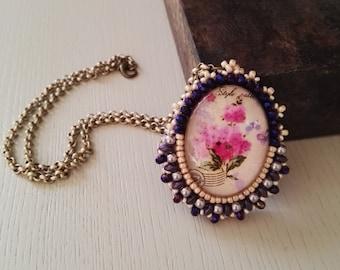 Collana cabochon fiori rosa