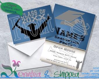 Silhouette Graduation Invitation; Folded Card; Postcard; PDF; E-Card