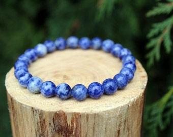 Brazilian Sodalite Bracelet, Sodalite Bracelet, Yoga Bracelet, Blue Bead Bracelet, Gemstone Bracelet, Beaded Bracelet, Men/Women's Bracelet