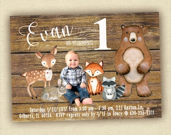 Woodland Birthday Invitation, Forest Animals Invite for a Boy, Forest Friends, Custom Printable Invitation, Photo Invite, Woodland Creatures