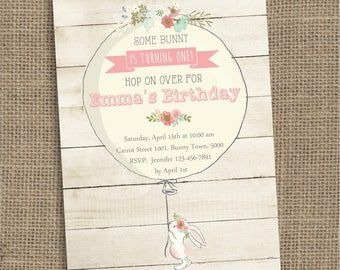 Bunny Birthday Invitation, Some Bunny Invite, Floral Bunny Party, Girl Birthday, Printable DIGITAL Invitation, Rabbit with Balloon Invite