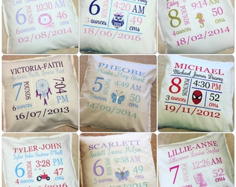 Baby Birth Details, Birth Announcement Personalized Cushion Cover with Insert