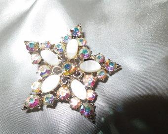Vintage Silver lucite and aurora borealis rhinestone star brooch