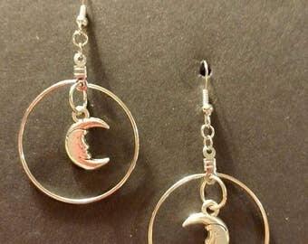 Silver hoop with Moon Silver Fishhook