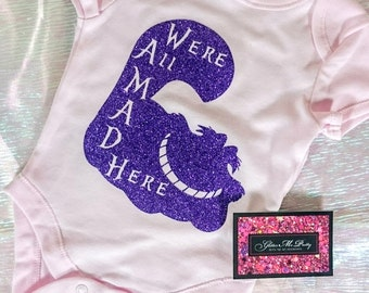 Glitter Baby Onesie - We're All Mad Here