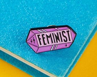 Feminist Crystal Enamel Pin with rubber back // lapel pins, feminism, feminist pin, international womens day