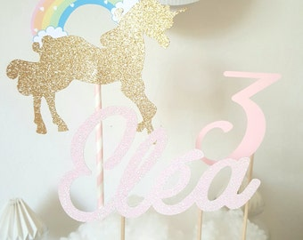 Cake decoration - first name in glittery pink + age paper pink + Unicorn