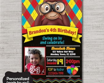Curious George invite,Curious George Birthday invitation,JPG file,Birthday Invite,Curious George invitation,Curious George,DPP81