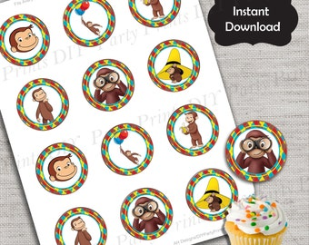 Curious George Cupcake Topper,Curious George topper,JPG file,Cupcake Toppers,Curious George Party,Curious George,Monkey Party Favor,DPP81