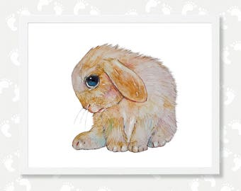 Bunny Rabbit Print Baby Farm Animal Bunny Watercolor Painting Nursery Printable Art Farmhouse Nursery Digital Instant Download Shy Bunny Pet