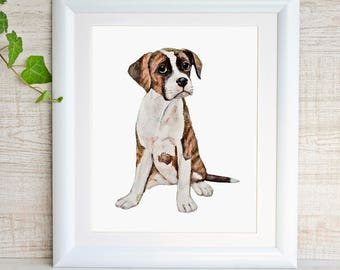 Boxer Dog Art Print Dog Nursery Art Puppy Nursery Print Boxer Dog Gifts Pet Portrait Watercolor Painting Brown Dog Wall Art Doggy Buddy Pup