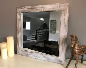 White Mirror, Whitewash Wood, Wood Frame Mirror, Rustic Wood Mirror, Bathroom Mirror, Wall Mirror, Vanity Mirror, Small Mirror, Large Mirror