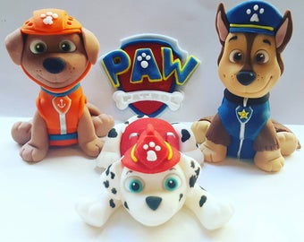 3 x Paw Patrol Fondant Cake Toppers with 12 sheild cupcake Toppers