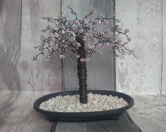 Beautiful Cherry Blossom Tree & Aurora borealis swarovski crystals. Unique gift. stunning present      CB01