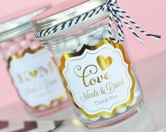 Personalized Metallic Foil Mini Mason Jars - Wedding (24 pieces)