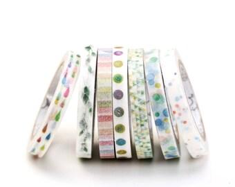 Super Thin Washi Tapes - Dots, Raindrops, Stripes, Rainbow Colors, Blue Hues, Slim 5mm x 7m