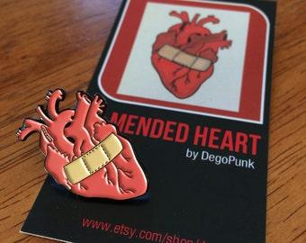 Mended Heart anatomical heart enamel pin