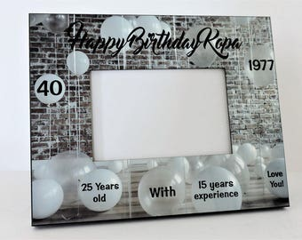 40th Birthday Gift Photo Picture Frame Personalized Name and Date by Forever Me Gifts