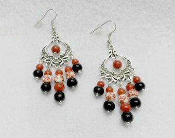 Red and black earrings