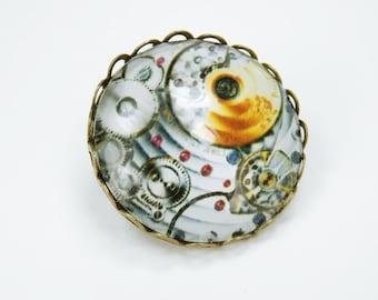Brooch gears pin bronze brooch with steampunk gears movement motif in grey - orange gear brooch cabochon