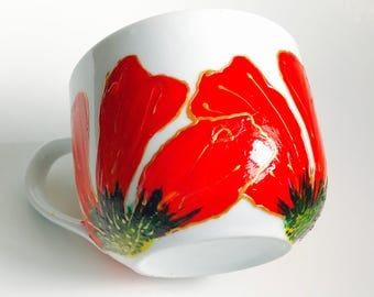 Mug Hibiscus floral paint red gold green and yellow handpainted handmade gift for mom birthday annivesary unique