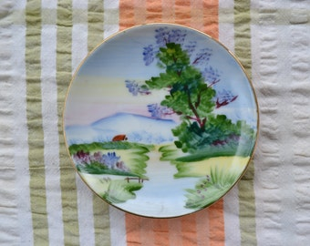 Vintage hand painted small decorative plate made in Japan