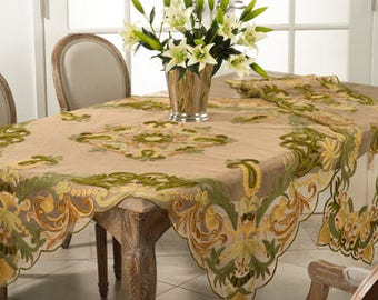 Hand Knitted Oval Lace Oval Runner Tablecloth Throw
