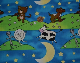 "hey diddle diddle the cat and the fiddle  fabric  by the yard  54"" wide limited stock"