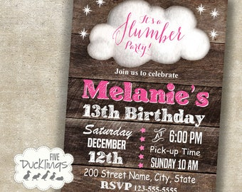 Slumber Party Invitation, sleepover birthday invitation, Printable Digital Invitation A384