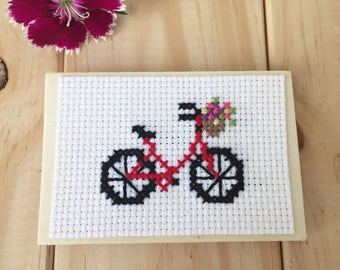 Red Bike Magnet, Bike with Flowers, Wood Magnet, Bicycle Decor, Cross Stitch