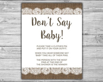 Burlap and Lace - Baby Shower - Don't Say Baby - Game - Sign - INSTANT DOWNLOAD - PRINTABLE - Rustic - Diaper Pin Game - 084
