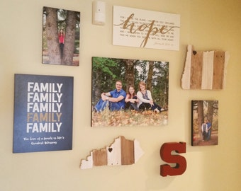 State Sign - State Cut Out - Photo Wall Display - State Shaped - Photo Wall Art -  State Cut Out Sign - Mother's Day Gift - Birthday Gift