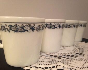 Set of 4 Pyrex Old Town Blue Mugs/Blue Onion Mugs