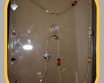 Beaded Long Amber Necklace