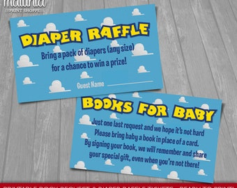 Toy Story Baby Shower Invitation Inserts - INSTANT DOWNLOAD - Disney Toy Story Printable Book Request & Diaper Raffle Tickets - Girl or Boy