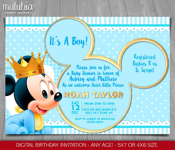 baby mickey mouse baby shower invitation baby prince mickey, Baby shower invitations