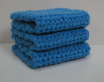 "Handmade Crochet Dishcloths Washcloths, 3-Pk, Medium Blue, 7-1/2"" (#6368)"