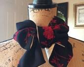 Black Cravat with Red Roses/ White Satin Reverse