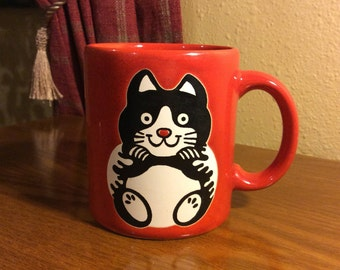 """Vintage """"Waechtersbach"""" Red Coffee Cup with a Black and White Cat Design"""