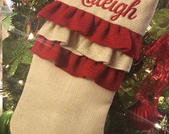 Personalized Christmas Stocking  Burlap Stocking, Monogrammed Stockings, Christmas Decor, Christmas Stockings