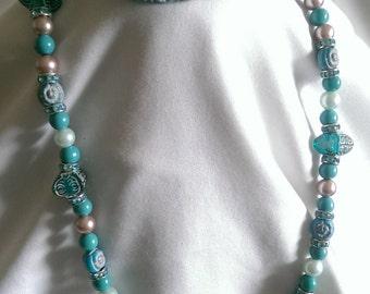 Blue/Cream Pearl Stone Bracelet and Necklace Set