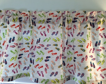 Flip Flop Window Valance-Flip Flop Curtains-Flip Flop Decor-Beach Decor-Lake Decor-Tropical Decor-Nautical Decor-Beach Curtains