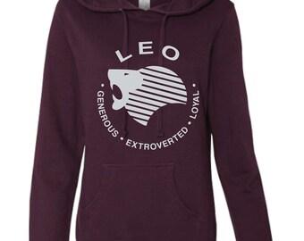 LEO - What's Your Sign? Blackberry Hoodie, deep purple hoodie, zodiac hoodie, sign hoodie, zodiac sweatshirt, leo hoodie, leo sweatshirt