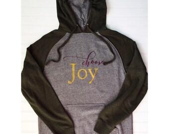 Choose Joy Hunter Green Raglan Hoodie, metallic, choose joy hoodie, choose joy shirt, holiday shirt, choose joy sweatshirt, green hoodie