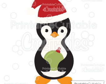 Penguin Holding Christmas Ornament SVG Cut File & Clipart E214 - Includes Limited Commercial Use!
